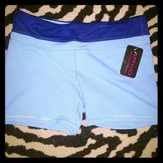 Attivo workout shorts light blue, spandex, thick waist band with hidden pocket attivo Shorts
