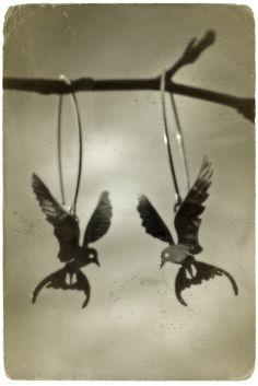 Arctic tern - silver earrings  Design by Tytti Bräysy - Paarma design  http://www.facebook.com/Metalmorfosia