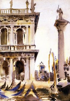 The Athenaeum - Corner of the LIbreria, Venice (John Singer Sargent - ) 1903 - 1904 Watercolor Sketch, Watercolor Paintings, Watercolours, Oil Paintings, John Singer Sargent Watercolors, Sargent Art, Venice Painting, Italy Art, American Artists