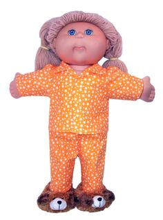 Who loves to have a Pyjama party? Make this cute Winter Pyjama Cabbage Patch Kids doll clothes pattern and you will have the best dressed doll at your next Pyjama party!    Use the top as a shirt pattern and the pants can be made in denim to look like jeans.  This is a very versatile pattern.    My PDF patterns come with printed instructions and full video tutorials.