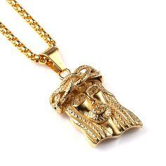 Hip Hop Bling Chain Necklace Titanium Steel Jesus Piece Necklace Hip Hop Jesus Pendant And 60cm Chain 2016 Men Jewelry