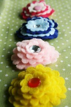How to make felt hair flower clips....cheap and cute!