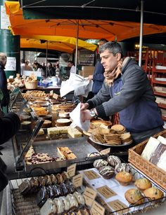Delicious cakes for sale at a stall at Borough Market - things to do in London