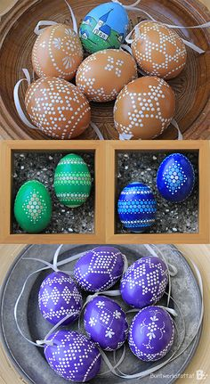 This year I finally had time to take pictures of some of the painted easter eggs I did over the last couple of years. Some of the eggs are drilled, others are e Easter Egg Crafts, Easter Eggs, Easter Paintings, Easter Egg Designs, Diy Ostern, Color Crafts, Egg Art, Easter Brunch, Egg Decorating