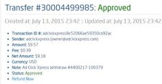 Here is my Withdrawal Proof from AdClickXpress. I get paid daily and I can withdraw daily. Online income is possible with ACX, who is definitely paying - no scam here. Thank You ACX!!!! http://www.adclickxpress.com/?r=f6zm5qbvca38&p=p3p AdClickXpress.Official