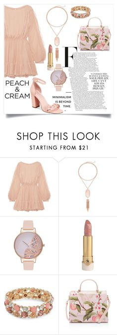 """Peach 🍑"" by harrariz ❤ liked on Polyvore featuring LoveShackFancy, Kendra Scott, Olivia Burton, Design Lab, Ted Baker, Avec Les Filles and peachlipstick"