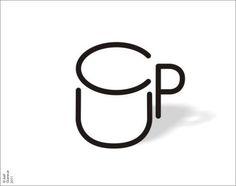 """Dessin minimaliste d'une tasse fait des lettres constituant le mot """"CUP"""""""