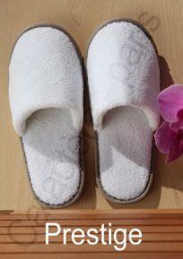 chausson d'hotel Prestige blanc et gris