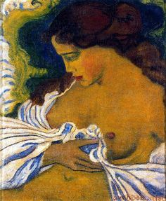 1898.  Aristide Joseph Bonaventure Maillol ( 1861 – 1944) was a French Catalan sculptor, painter, and printmaker. He was very influenced by Guiguin.