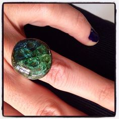 Blue green melted Sea Glass Ring Silver plated by CraftyleftDee