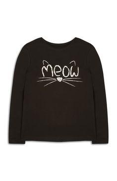"""Primark - Schwarzes """"Meow"""" Top (Teeny Girls)"""