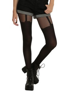 Black Faux Garter Tights | Hot Topic