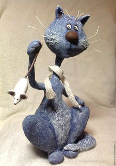 Купить Сувенирный, коллекционный Кот мышелов из полимерной глины - синий, кот в подарок, кот, котик
