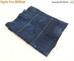 SALE Japanese Antique Boro Textile. Indigo Ikat by FurugiStar