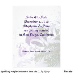 Sparkling Purple Ornaments Save The Date Cards Invitation