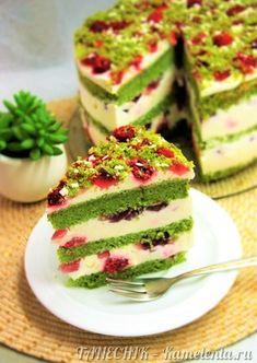 "Приготовление рецепта Торт ""Изумрудный бархат"" (Emerald Velvet Cake) шаг 23 Spinach Cake, Inside Cake, Chocolate Cheesecake Recipes, Raspberry Recipes, Specialty Cakes, Velvet Cake, Vanilla Cake, The Best, Cookie Recipes"