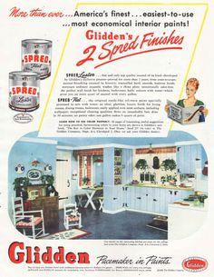 Vintage Glidden Paint Ad 1940's Kitchen Mid by SkippiDiddlePaper, $7.00