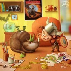Sergei Kardakov. Ilustrador freelance de Moscú con especialidad en diseño de personajes de dibujos animados.  Ilustración: Como educar a tu dragón en casa  http://www.behance.net/Artraf01