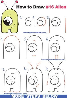 """How to Draw Cute Cartoon Alien from Numbers """"16"""" Easy Step by Step Drawing Tutorial for Kids and Beginners #Aliens"""