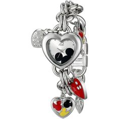 Disney Mickey Mouse Silver Sunray Dial Charm Bracelet Watch ($25) ❤ liked on Polyvore featuring jewelry, watches, bracelets, disney, accessories, heart bracelet, silver bracelet charms, silver bracelet, disney bracelet and heart charm bracelet