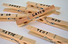 Who said stacks of paper can't be fun too?  These 5 minute craft clothespin note clips will keep stacks of paper organized and they look good too! H2OBungalow.com #backtoschool #organize
