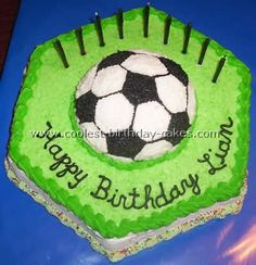 Coolest Soccer Cake Ideas to Make Awesome Soccer Cakes Soccer Cakes, Soccer Birthday Cakes, Soccer Ball Cake, Soccer Party, Cool Birthday Cakes, Birthday Ideas, Cupcake Cakes, Cupcakes, Decorated Cakes