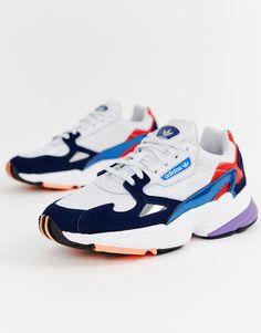 01de6042224b85 adidas Originals white and navy Falcon sneakers at asos.com