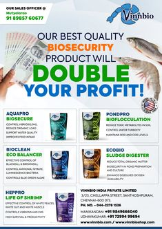 OUR BEST QUALITY BIOSECURITY PRODUCT WILL DOUBLE YOUR PROFIT! Our shrimp probiotics products available at bhimavaram. #vinnbio #ecobio #heppro #aquapro #bioclean #pondpro #shrimpbiosecurity #shrimprobiotics #shrimpdisease #shrimpgrowbooster #shrimppondscare #shrimpponds #Bhimavaram #bhimavaramshrimpponds Water Quality, Shrimp, Aqua, How To Make, Products, Water, Gadget