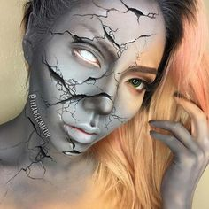 Cracked Statue Makeup for Mind-Blowing Halloween Makeup Looks