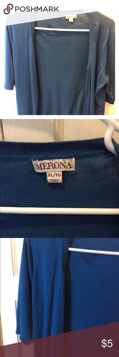 Blue Merona Short Sleeve Button Up Cardigan-XL Blue Merona cardigan from a smoke-free home with a cat. Short sleeve, button on, scoop neck. Merona Sweaters Cardigans