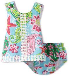 Distributor Pakaian Bayi - Mud Pie Baby-girls Newborn Lily Pad Pinafore and Bloomer Set | Pusat Baju Bayi Terbesar dan Terlengkap Se indonesia