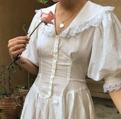 Now on our INSTA section on site. Romantic cotton button down dress with lace trims. Size with tie back waist detail. A special… Looks Style, My Style, Under Your Spell, Vintage Outfits, Vintage Fashion, Lolita, Vestidos Vintage, Button Down Dress, Fashion Outfits