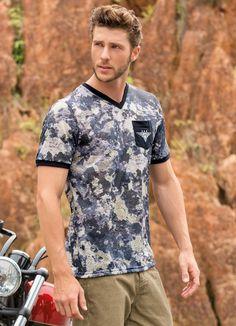Camiseta Decote Gola V Actual Estampado Camuflado Modelo Masculina - Manga  Curta - Com Bolso Bordado 2fdcf9c4b90ec