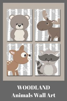 WOODLAND Animals Wall Art, Woodland Nursery Decor, Birch Tree Wood Forest Animals,CANVAS or Print,Deer Bear Moose Raccoon, Set of 4 Pictures. #affiliate