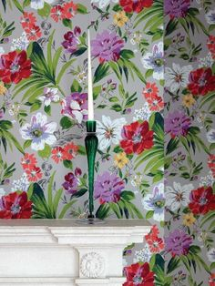 Floral Fest - Rosslyn - Nina Campbell Wallpapers - A bold, vibrant informal array of painterly florals.  Shown in the red, pink and green on a warm taupe background.