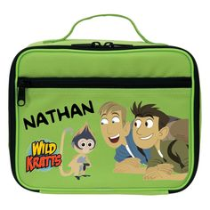 The Official PBS KIDS Shop | Wild Kratts Monkey and Kratt Brothers Green Lunch Bag