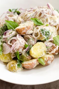 Recipe:  Mixed New Potato Salad with Sweet Basil and Shallots  — Recipes from The Kitchn
