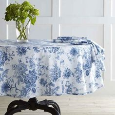Keep it classic with a delicate floral toile tablecloth.