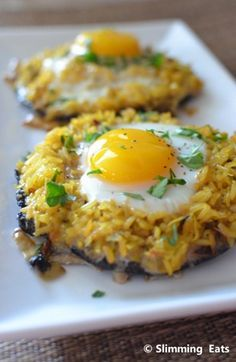Baked portabella mushrooms with rice and egg - this was pretty good, not fabulous, but filling and certainly very low in calories and fat.  It took much longer to cook than I expected, I was thinking 5 minutes cook time, it was more like 18-20 minutes cook time.  Still, I'd make it again.