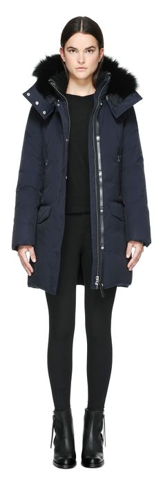 JUANA MID LENGTH WINTER DOWN PARKA WITH FUR IN NAVY