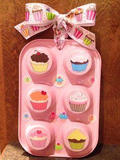 Cupcake tin, spray paint, stickers & ribbon