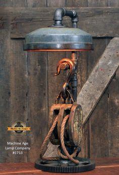 Steampunk Industrial / Farm / Antique Wood Block and Tackle / Gear / Feeder Shade / Lamp sold Rustic Industrial Decor, Industrial Lighting, Block And Tackle, Steampunk Hat, Cool Lamps, How To Antique Wood, Wood Blocks, Decorative Bells, Sculpture Art