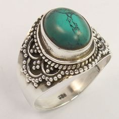 TURQUOISE (S) Gemstone 925 Solid Sterling Silver Vintage Design Ring Size US 5.5…