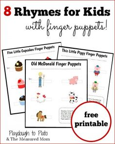 8 fun rhymes for kids with FREE printable finger puppets. So fun!
