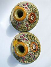 """WELLER 5 3/8"""" GLENDALE GOLD FINCHES at NEST OF EGGS CANDLEHOLDERS ARTIST H. HERB Weller Pottery, Roseville Pottery, Finches, Decorative Plates, Candle Holders, Herbs, Bird, Nest, Artist"""
