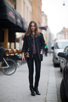 Caroline Blomst / Jacket + sweater from Isabel Marant, leggings from Helmut Lang, boots from Celine and bag from Dolce & Gabbana. Mode Style, Style Me, Caroline Blomst, Sweater Jacket, Bomber Jacket, Celine Boots, Autumn Clothes, Kappa, Scandinavian Style