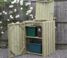 Wheelie Bins are not a particularly attractive enhancement for your garden. So why not invest in a wheelie bin store, where they can be safely stored out of sight.