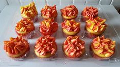 A few days ago I posted red and yellow tie dyed cupcakes, they were for a firefighter themed birthday party. They were decorated with spikey red and yellow frosting to resemble fire. Cup Cakes, Cupcake Cakes, Fire Truck Cupcakes, Tie Dye Cupcakes, Fireball Recipes, Krystal, Fire Trucks, Birthday Cakes, Eat Cake