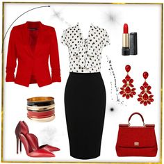 Business attire: Red blazer, polka dots