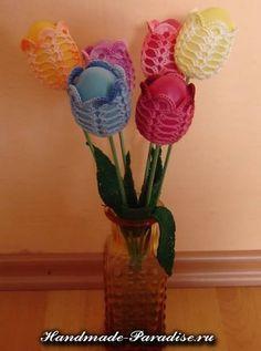Схемы обвязки крючком пасхальных яиц! Красотааа! Thread Crochet, Diy Crochet, Diy Flowers, Crochet Flowers, Diy Projects To Try, Crochet Projects, Easter Crochet Patterns, Holiday Crochet, Spring Crafts
